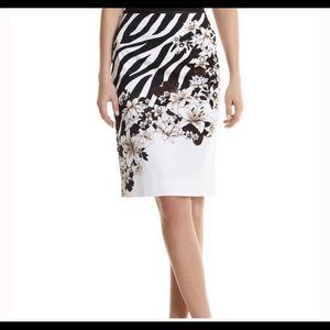 White House Black Market Zebra Floral Print Skirt